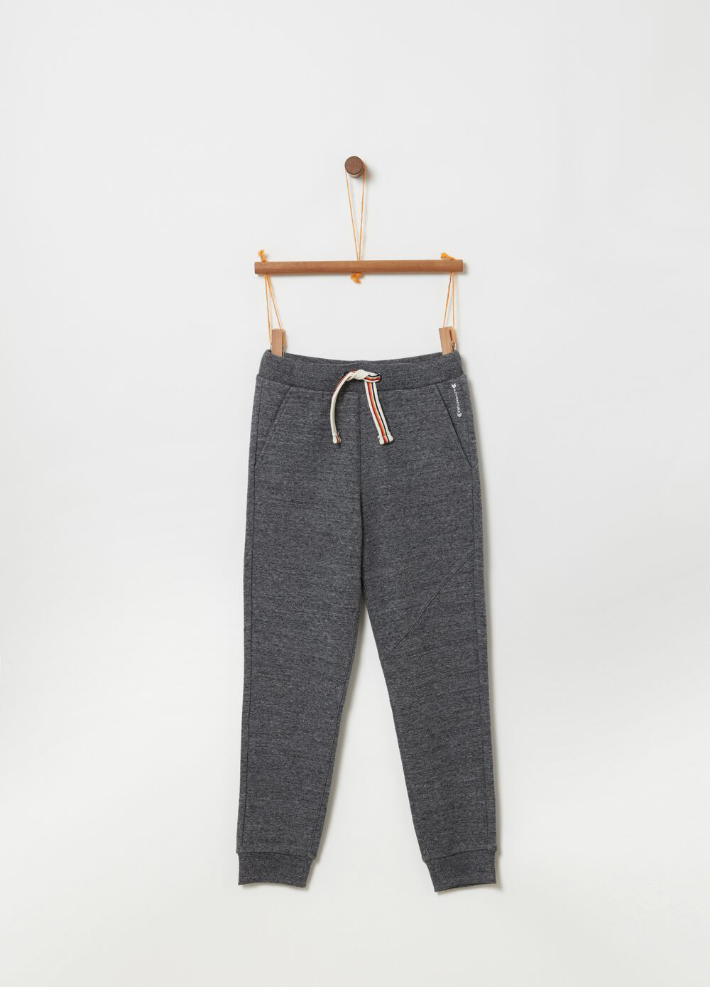 Mélange joggers with drawstring and cuts