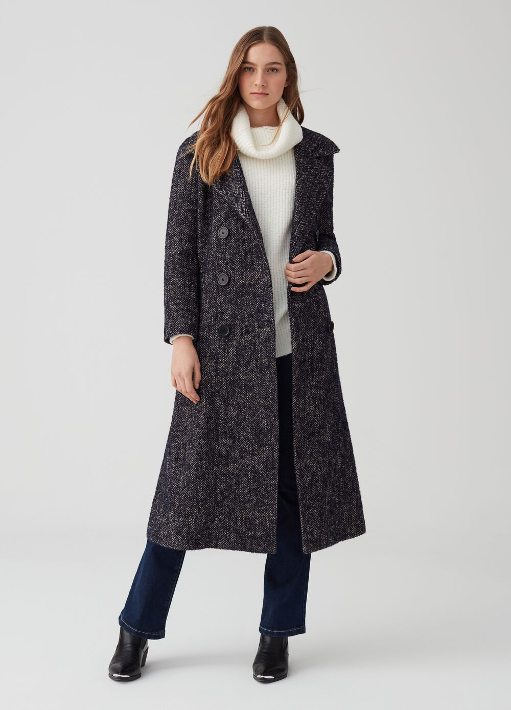 OVA Premium long coat with lapels