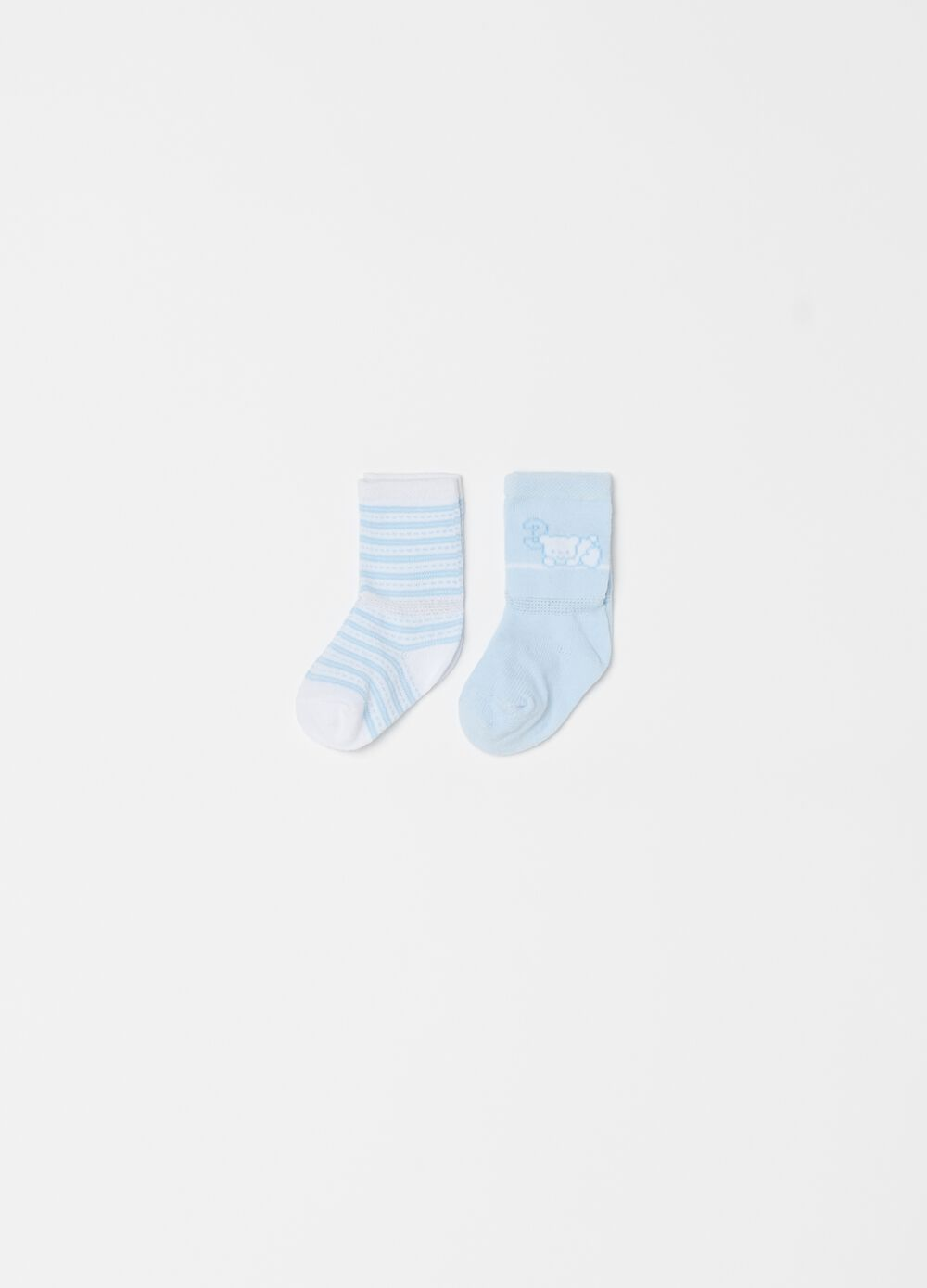 Two-pair pack long socks with embroidery and stripes