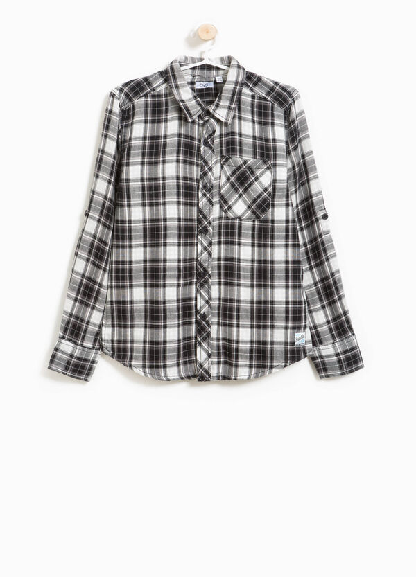Tartan flannel shirt with pocket | OVS