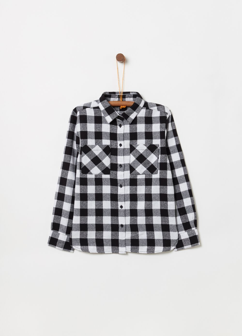 Shirt with lurex pockets and check pattern