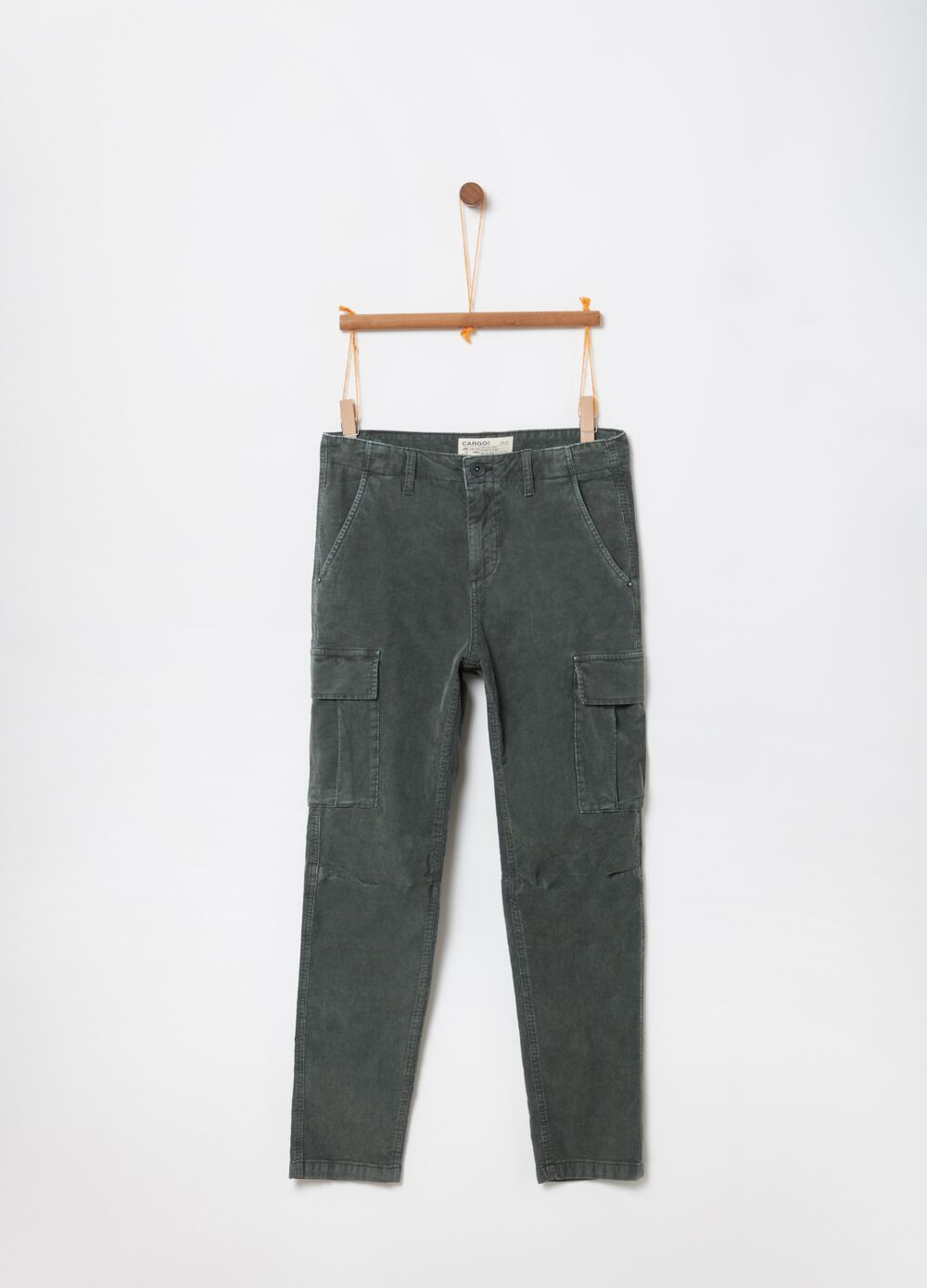 Stretch cotton velvet cargo trousers