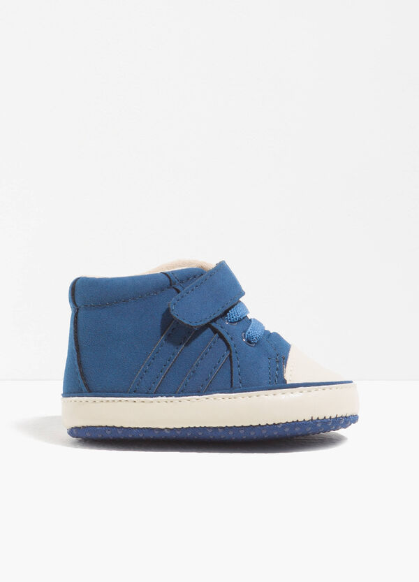 High-top sneakers in solid colour fabric
