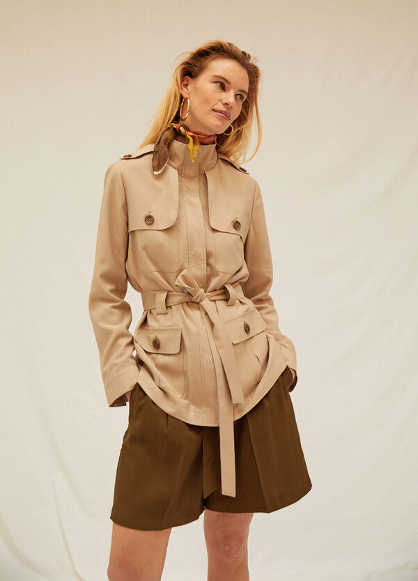 Viscose blend trench with high neck.
