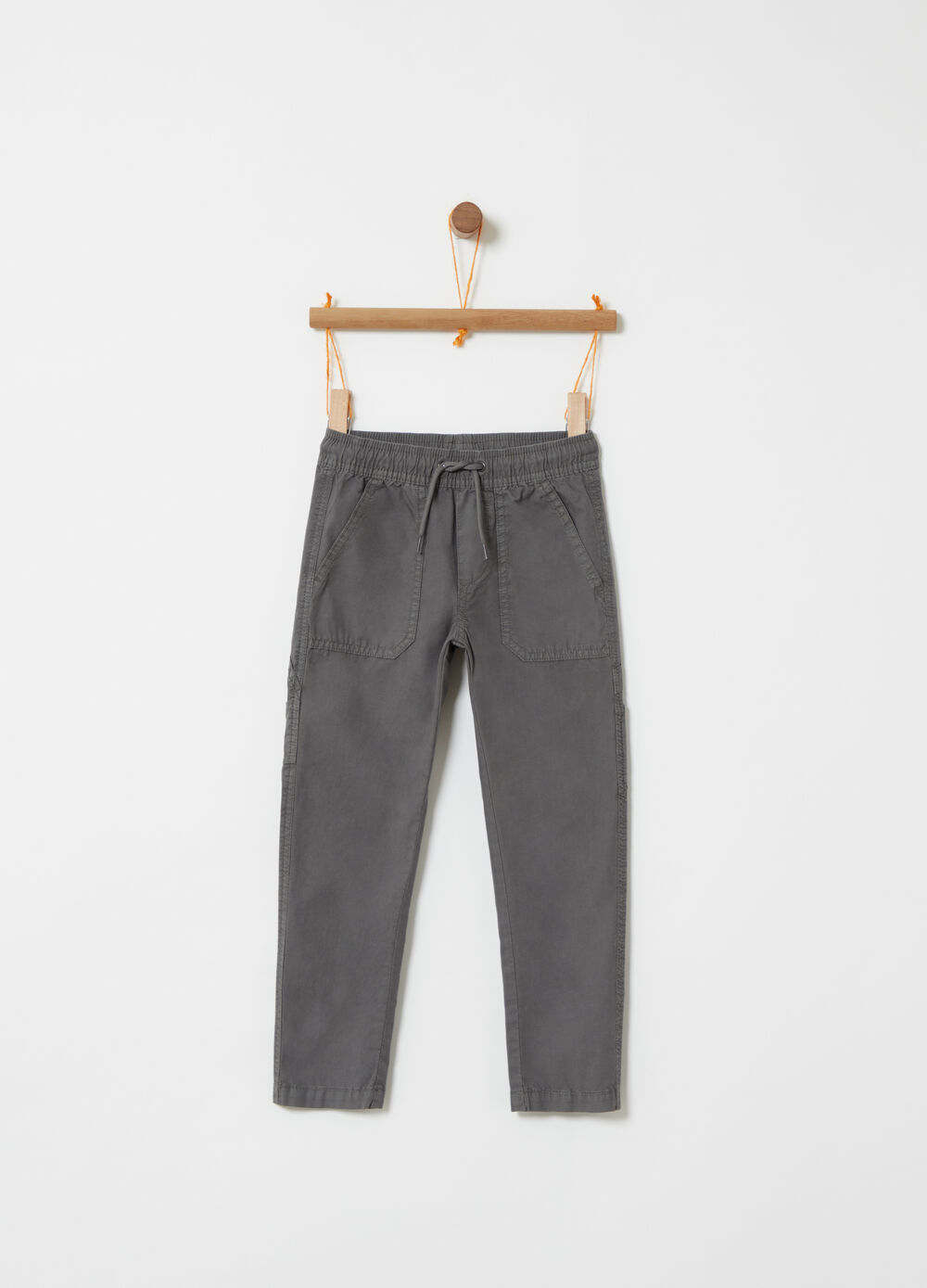 Poplin trousers with pockets