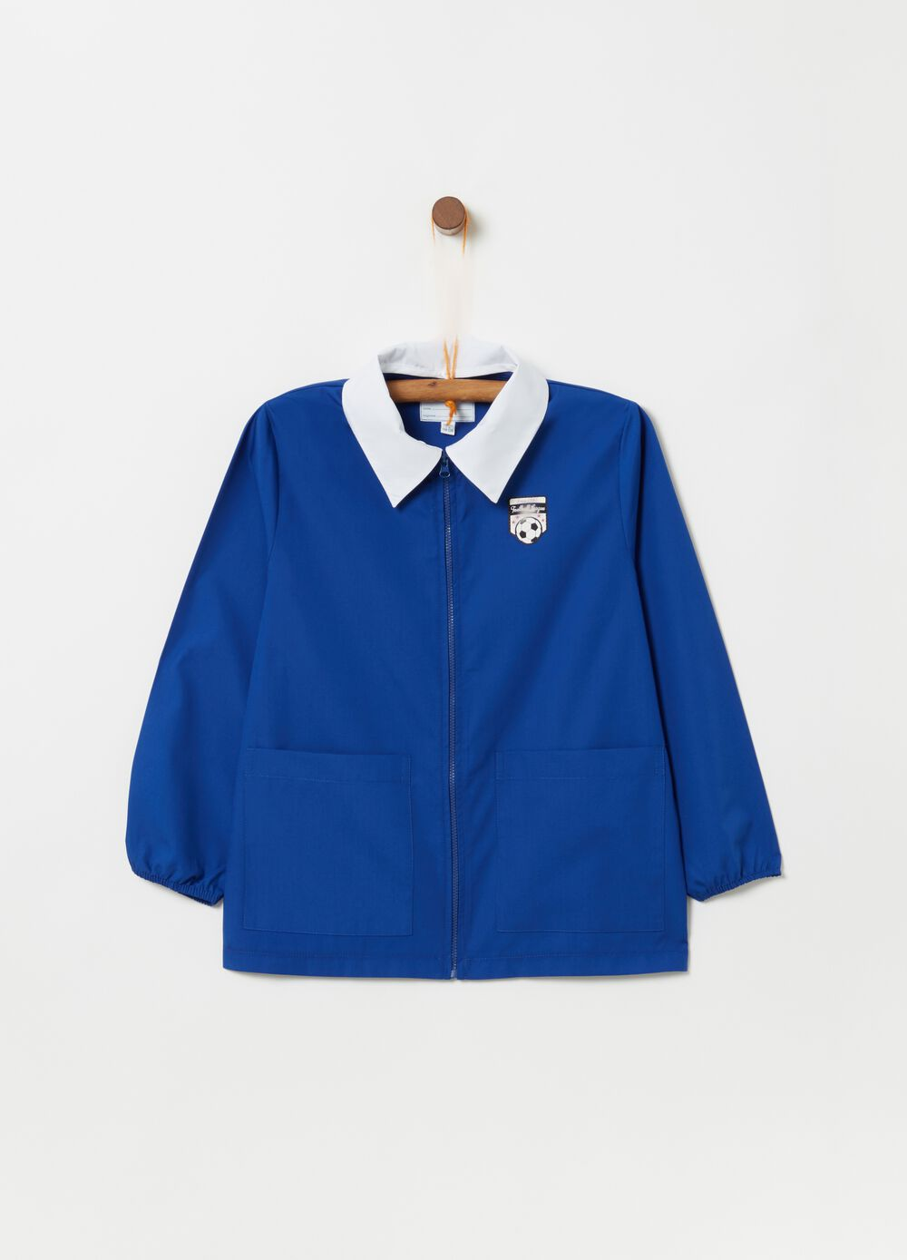 Smock with zip and patch
