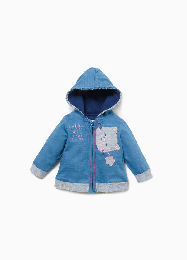 Cotton sweatshirt with patch and hood