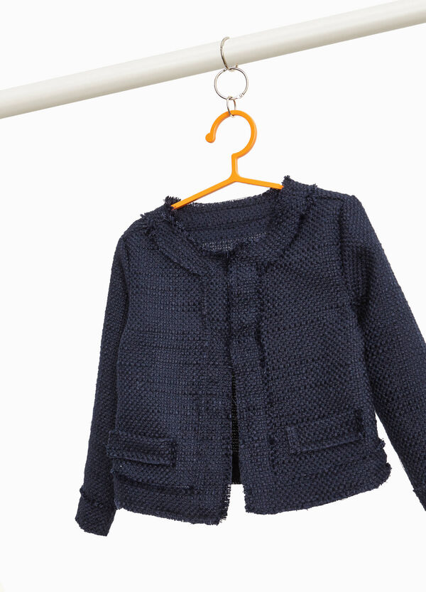 Knitted blazer with raw edges