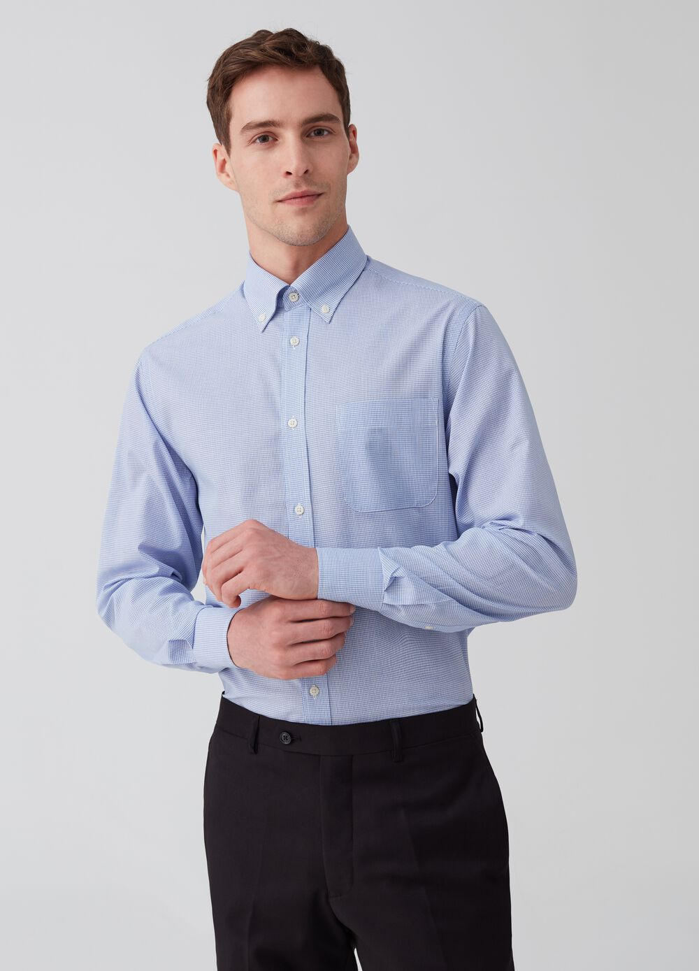 Regular-fit button-down shirt with check pattern