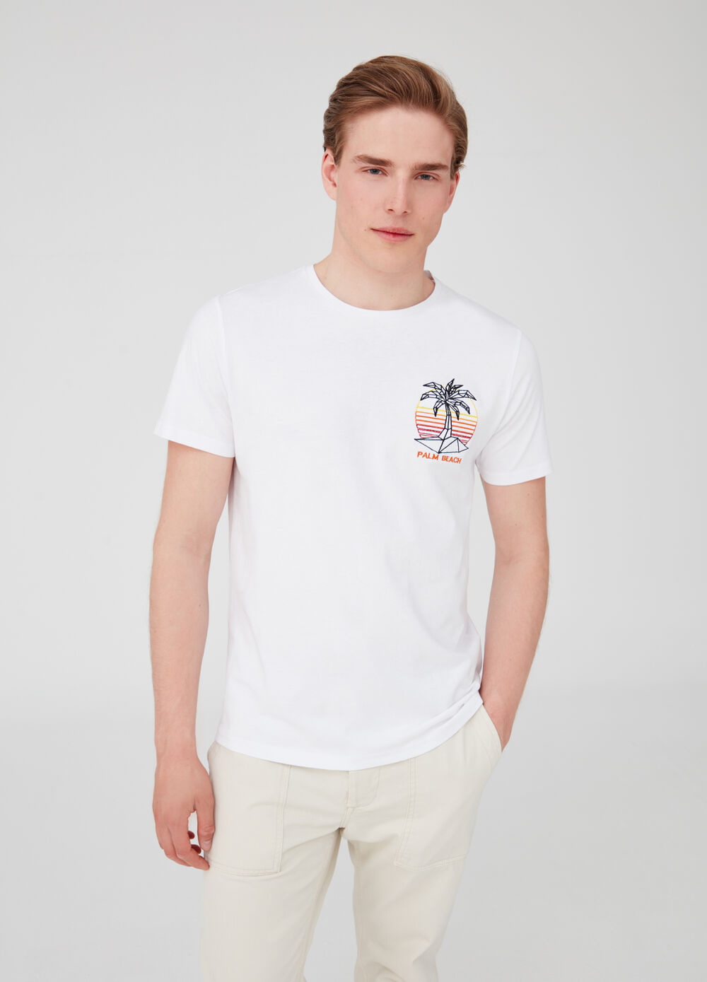 100% cotton T-shirt with palm embroidery