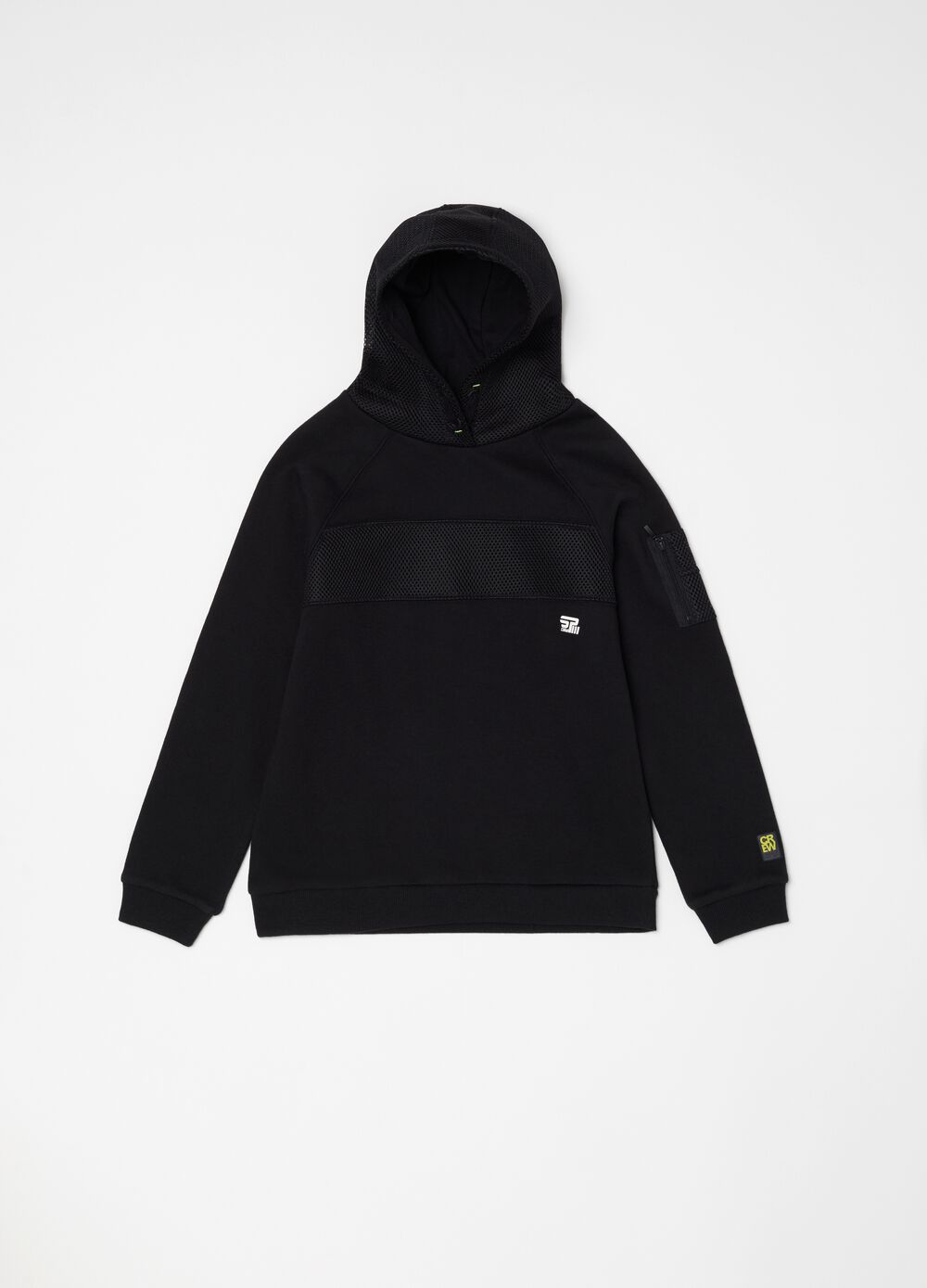 Solid colour sweatshirt with hood and round neck