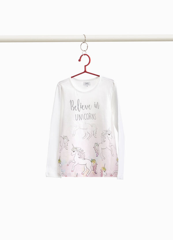 Stretch cotton T-shirt with unicorn print