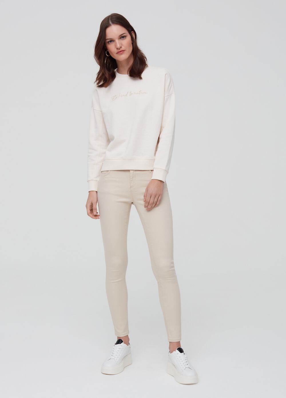 Solid colour push-up trousers