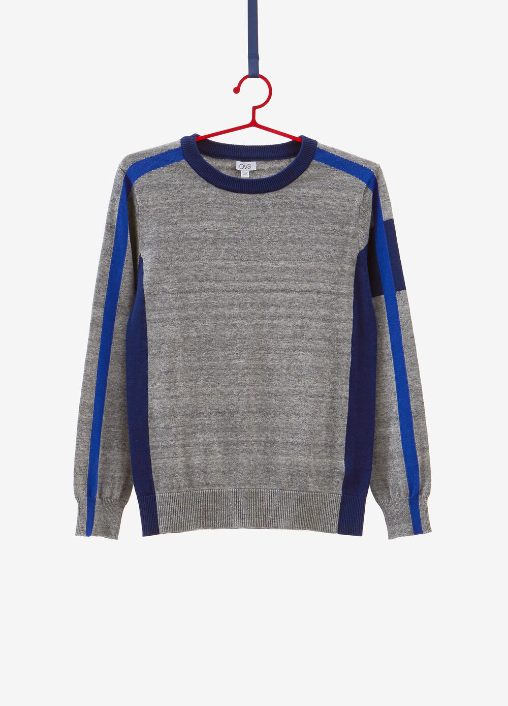 Mélange knitted pullover with inserts