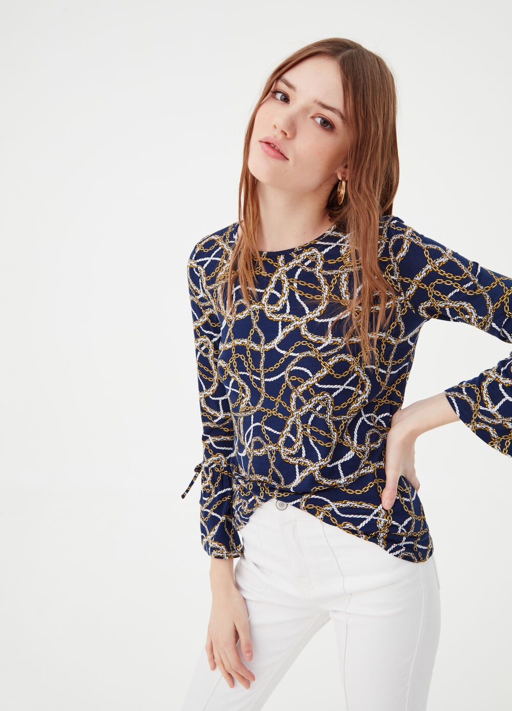Patterned T-shirt with long sleeves
