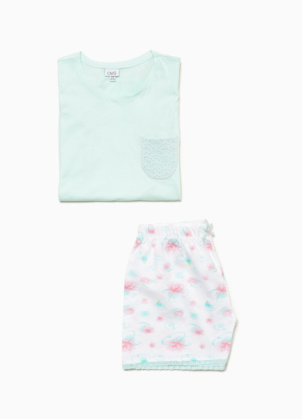100% cotton pyjamas with perforated breast pocket