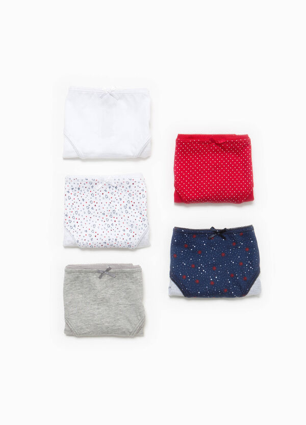 Five-pack solid colour and patterned briefs   OVS