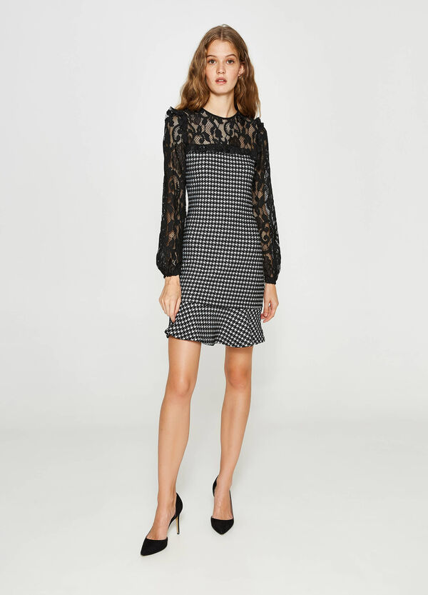 Tube dress with hounds' tooth lace | OVS