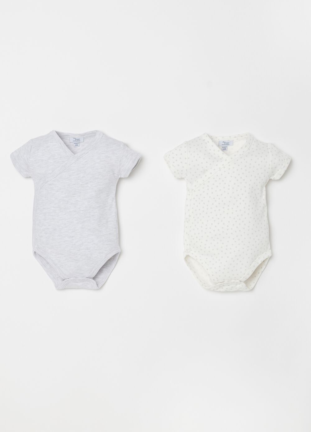 Two-pack biocotton bodysuits with short sleeves