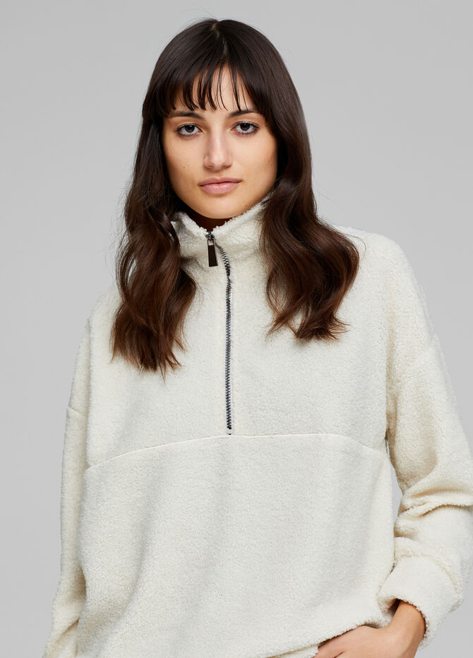 Faux fur sweatshirt with high neck