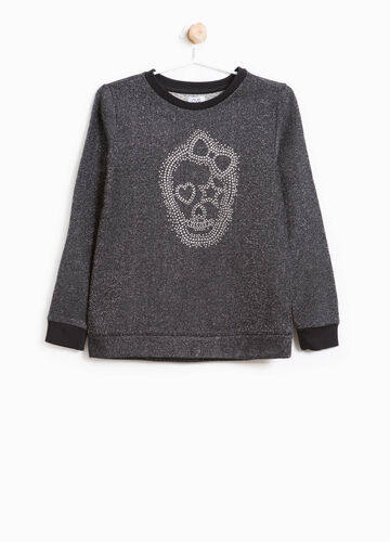 Cotton blend sweatshirt with lace