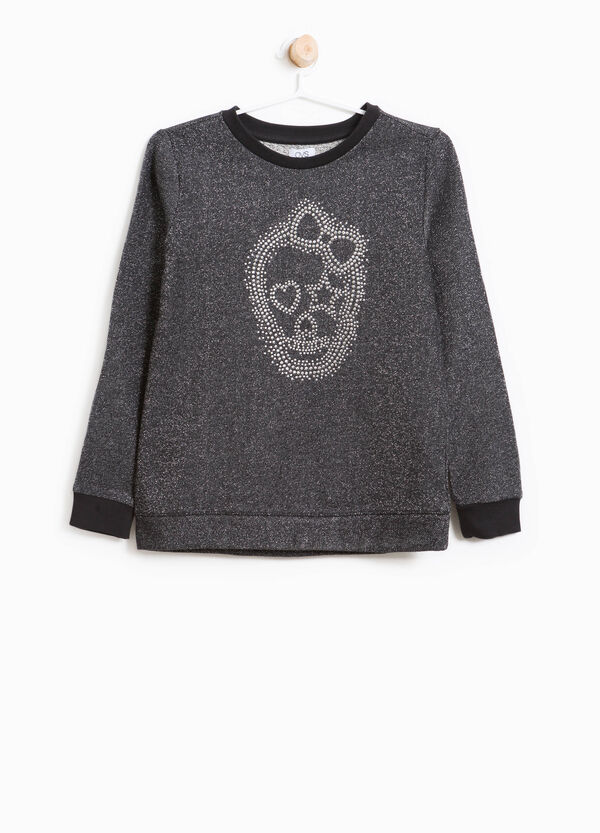 Cotton blend sweatshirt with lace | OVS