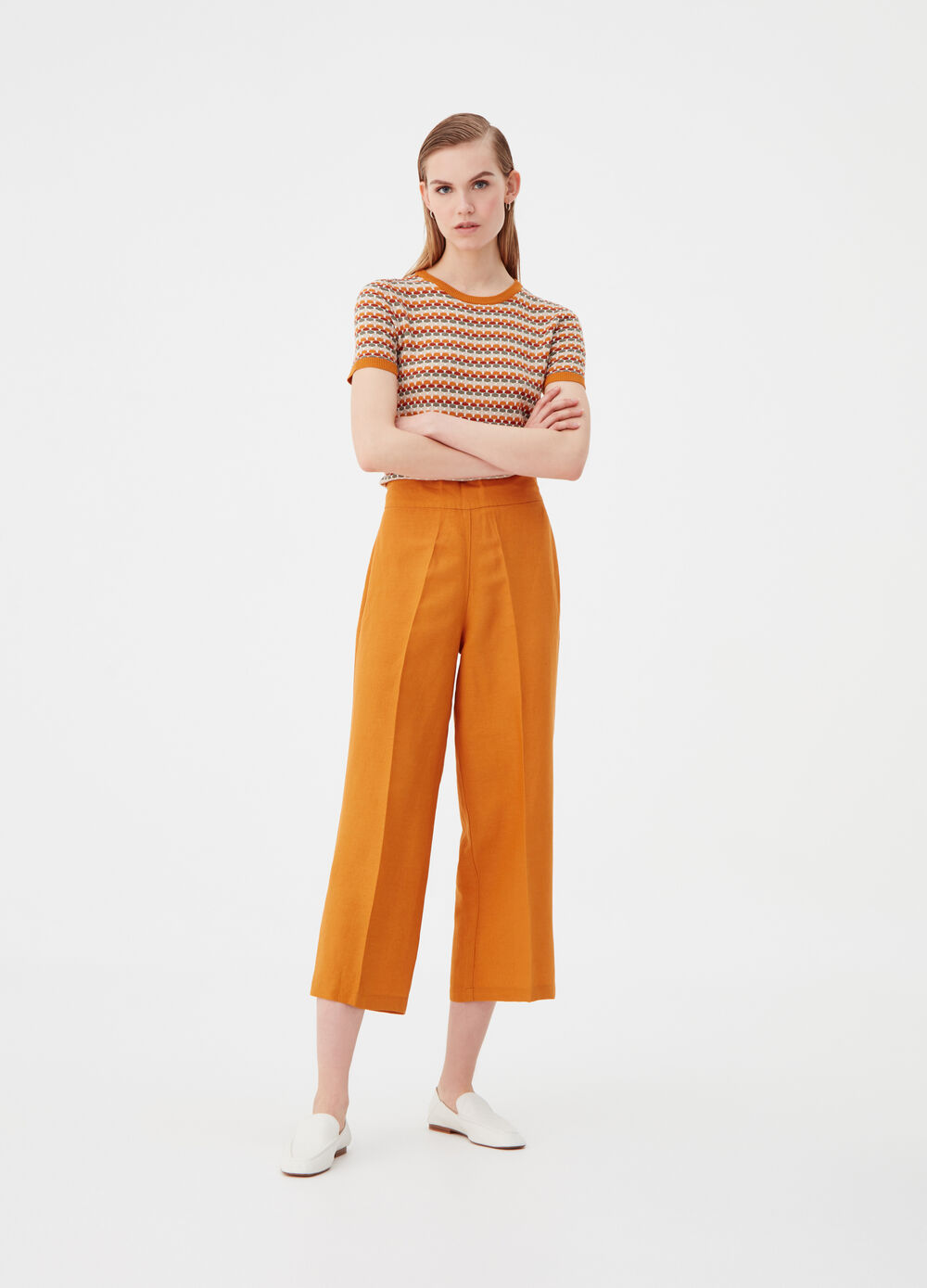 Linen and viscose culotte trousers