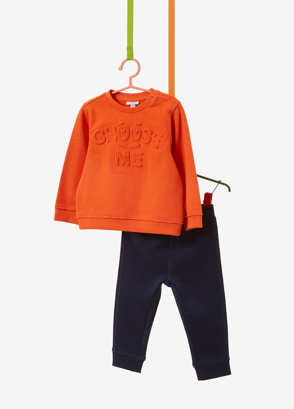 100% cotton tracksuit with lettering patch