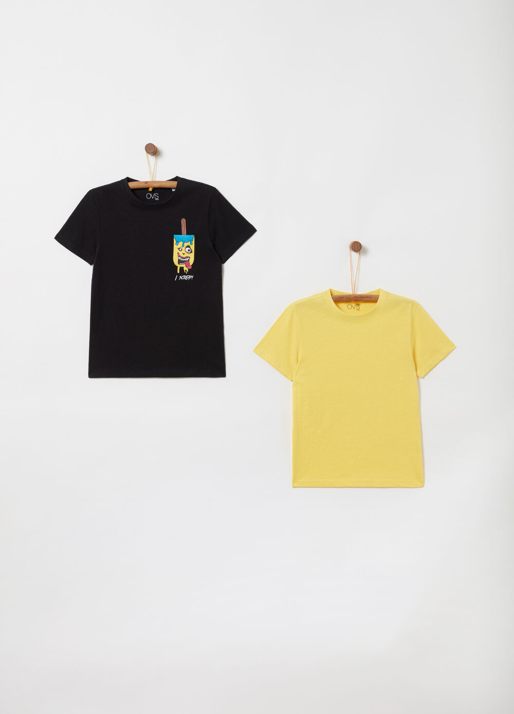 Two-pack T-shirts with ribbing and print