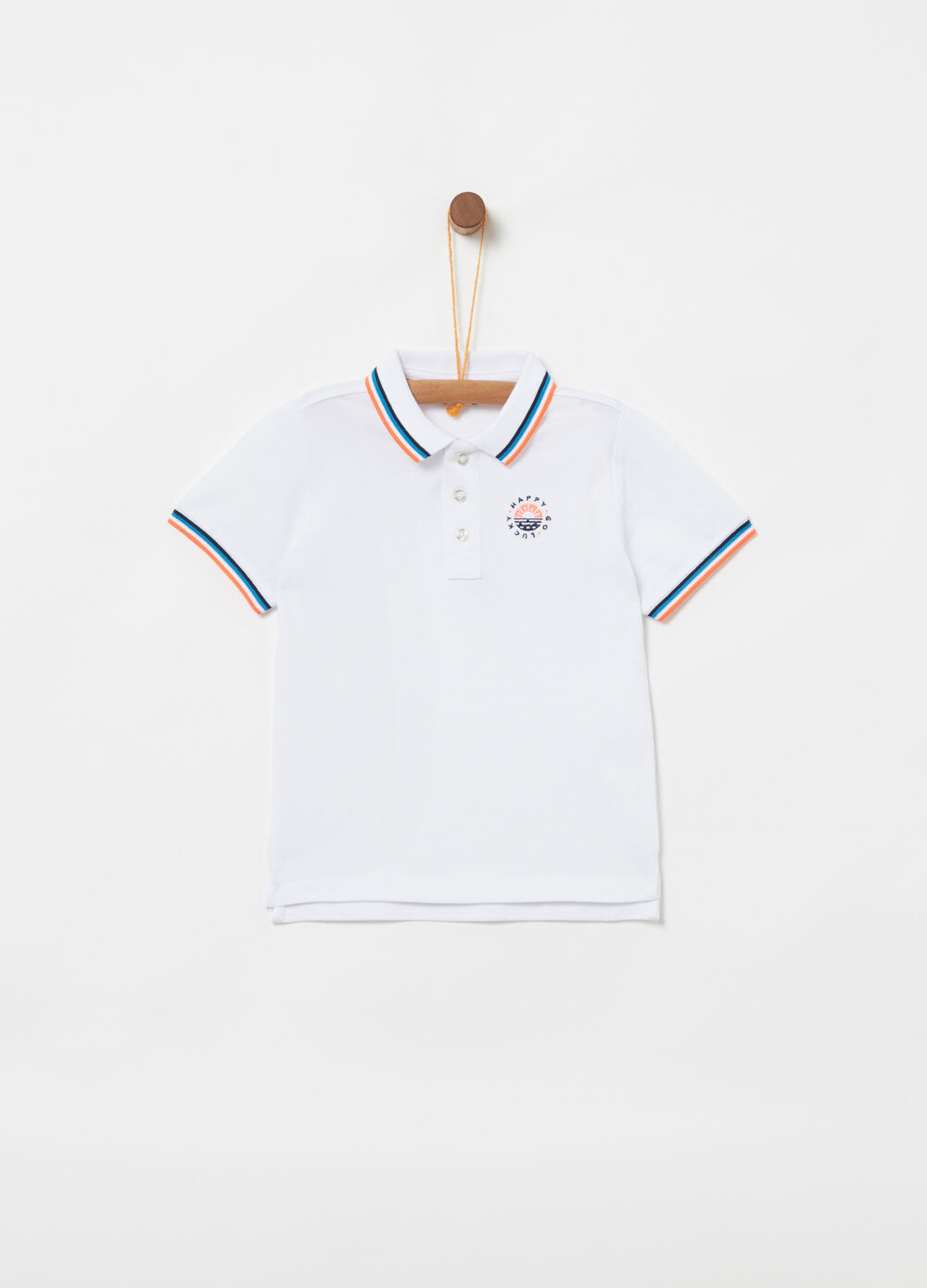 Organic cotton piquet polo shirt with inserts