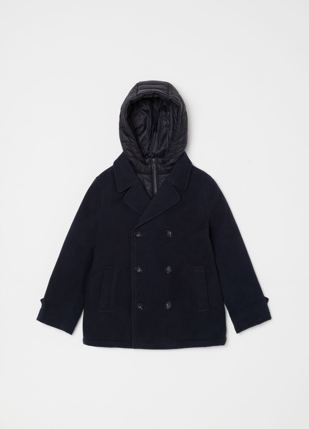 Double-breasted pea coat with hood