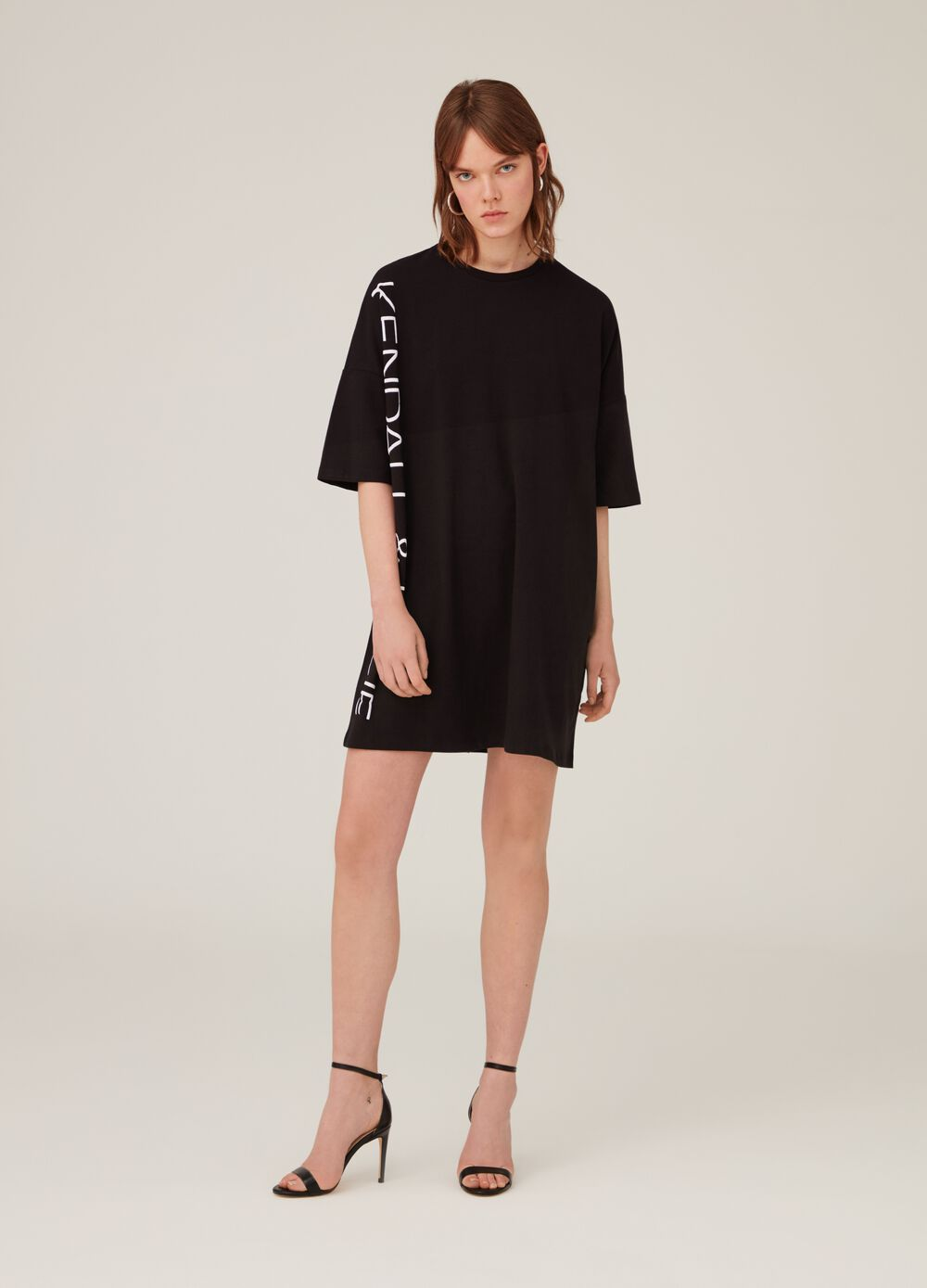 K+K for OVS stretch cotton dress with lettering