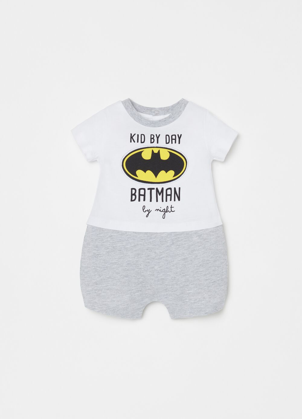 Short romper suit with Batman print