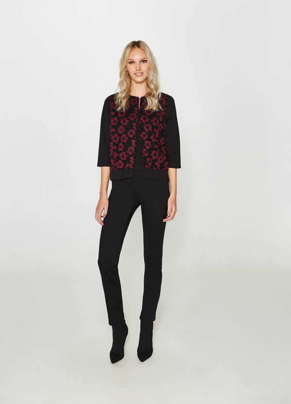 Viscose blend blazer with floral embroidery | OVS