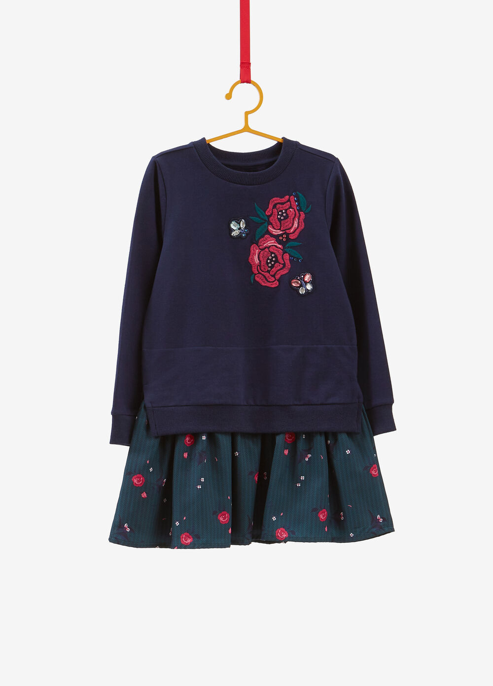 Cotton dress with diamantés and floral embroidery