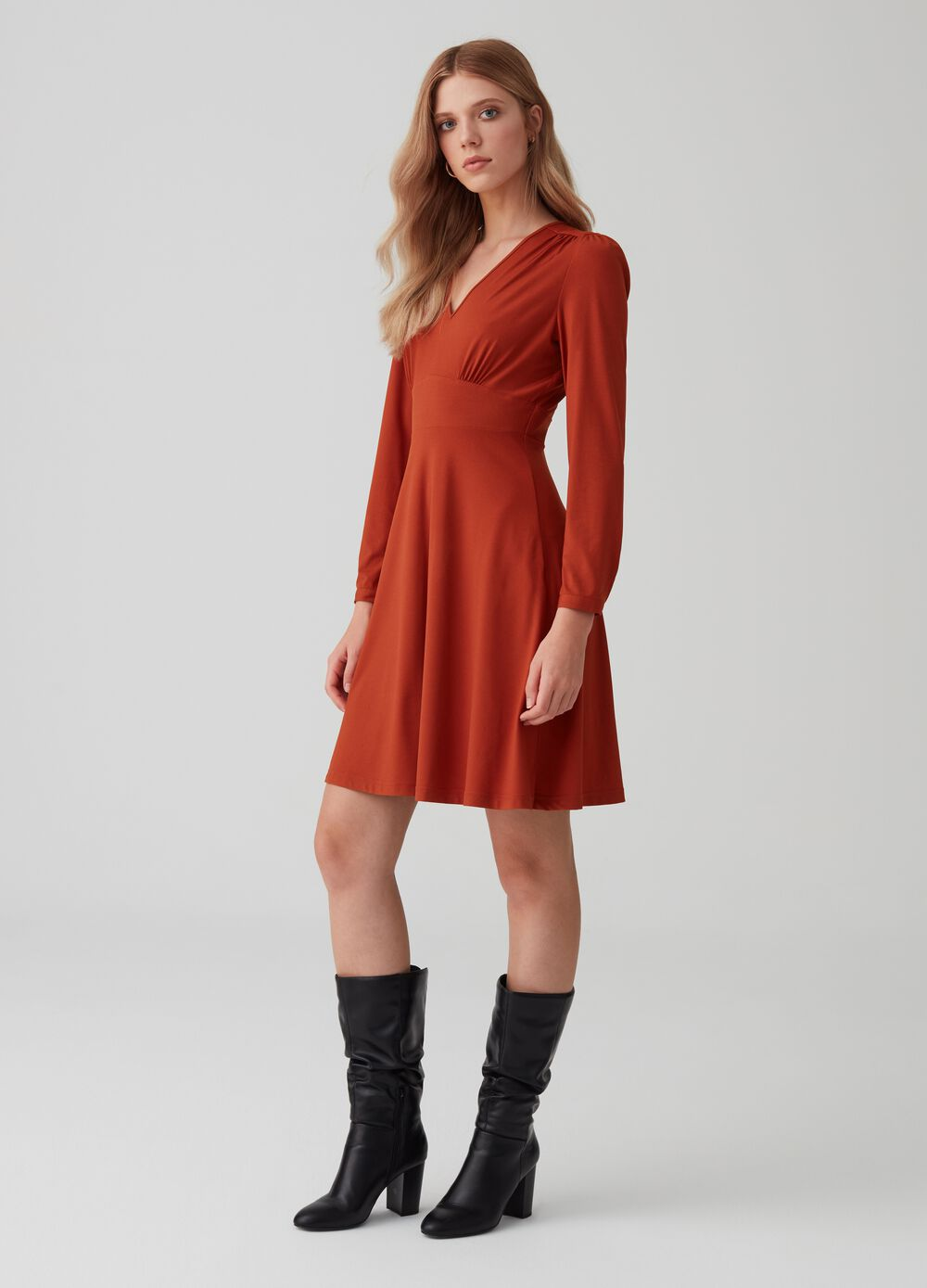 V-neck stretch jersey dress
