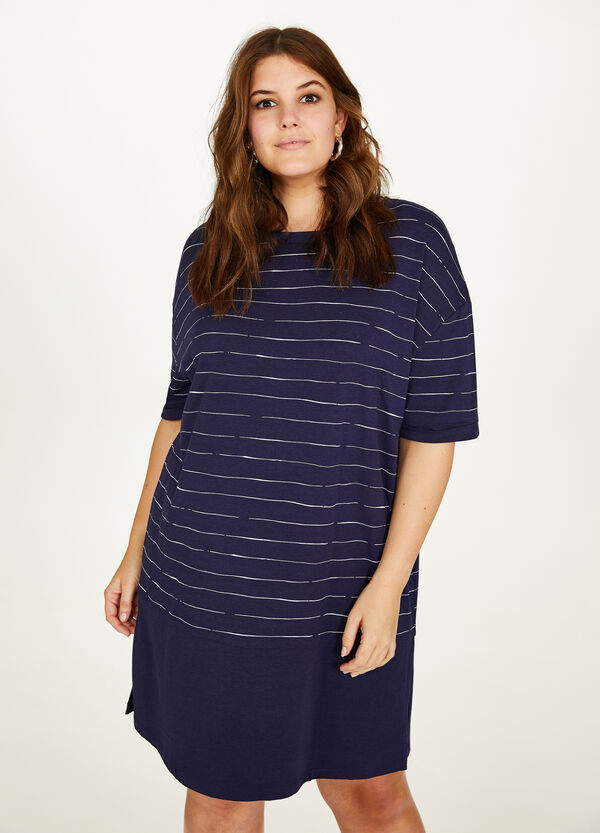 Curvy patterned cotton and viscose dress