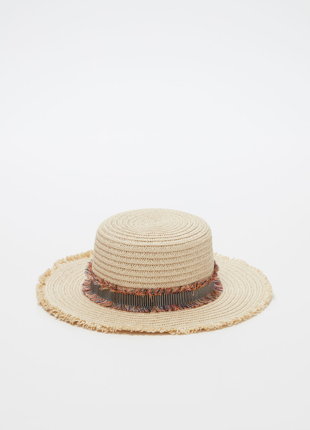 Straw-effect hat with fringed band