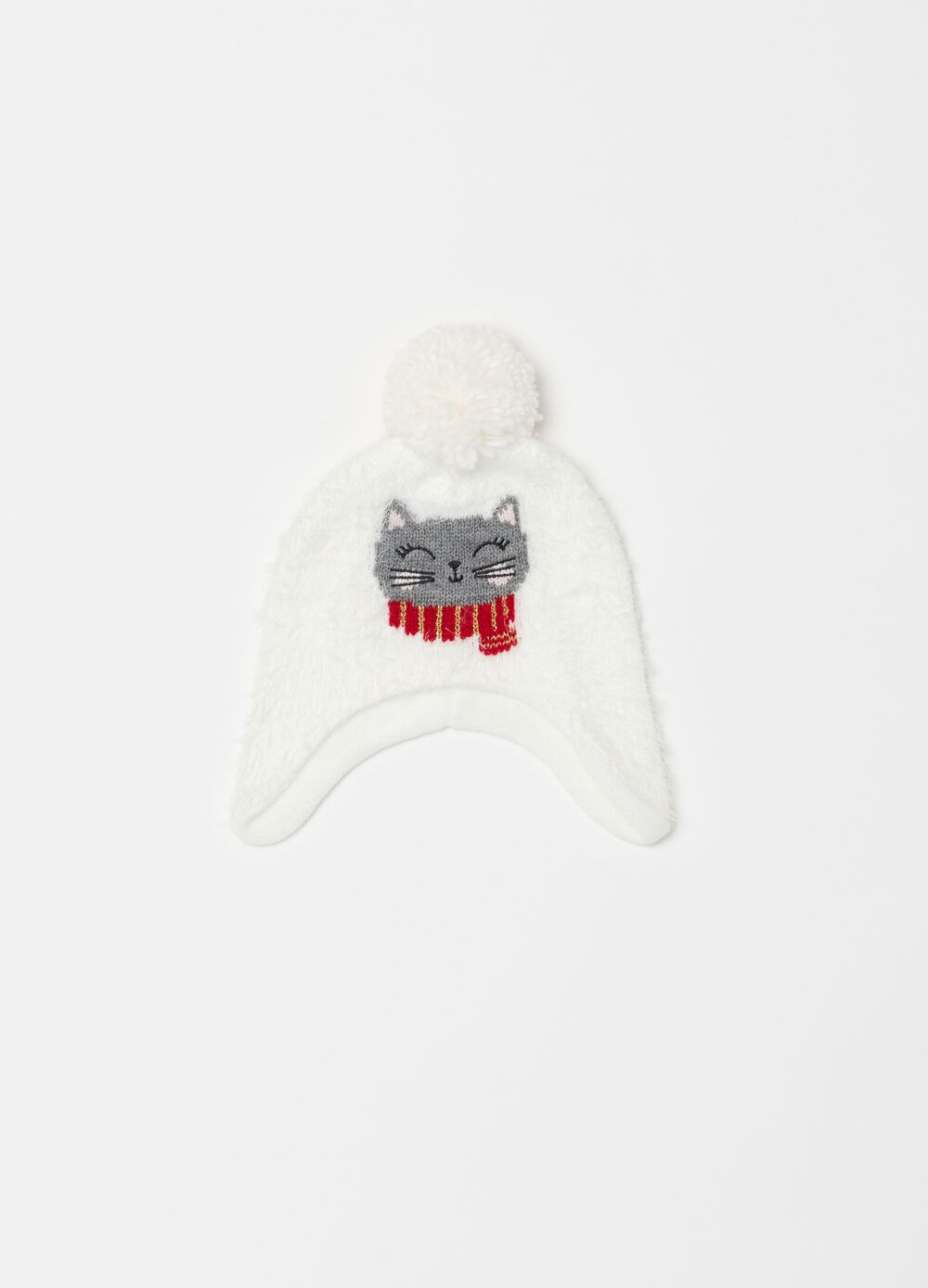 Hat with pompom and kitten embroidery