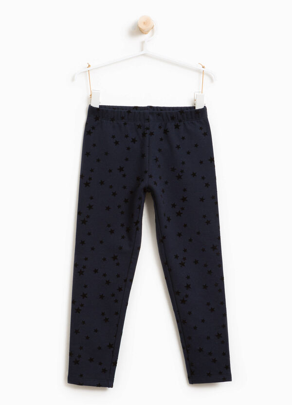 Leggings in stretch cotton with stars pattern | OVS