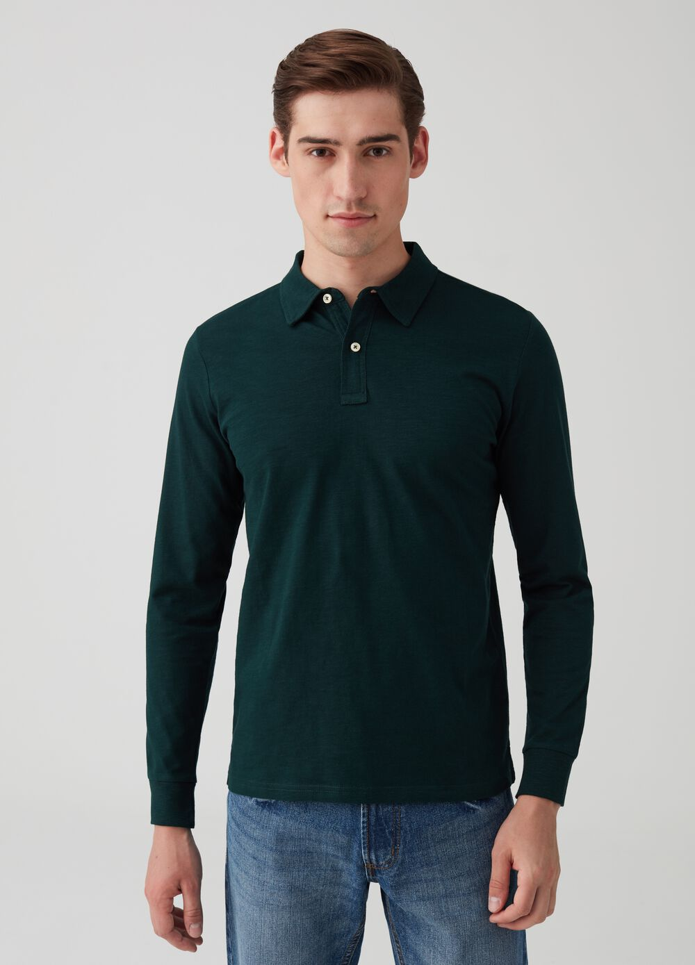 Biocotton polo shirt with buttons