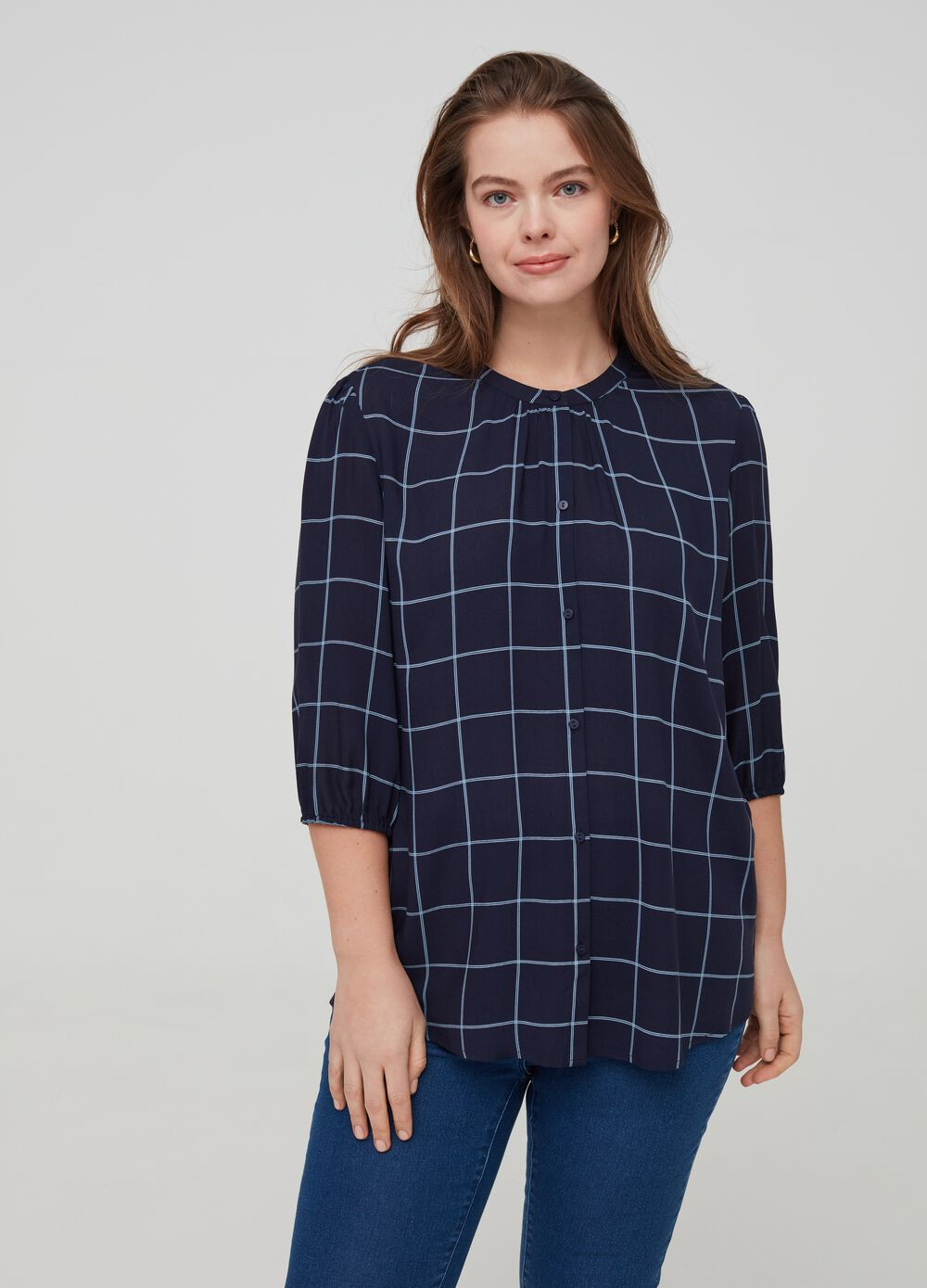 Curvy patterned blouse in 100% viscose