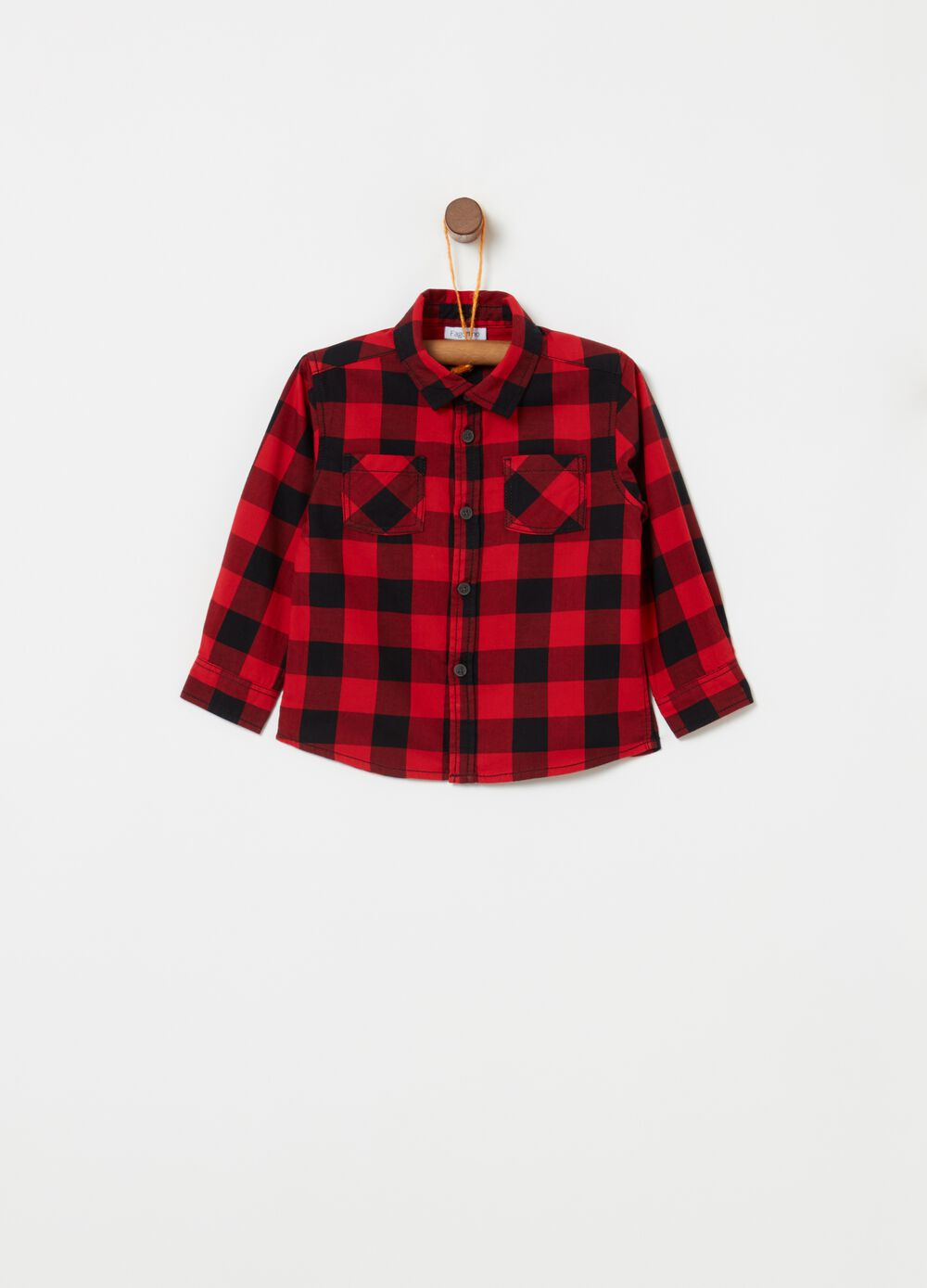 Check cotton shirt with pockets