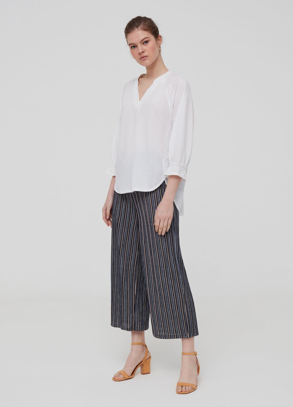 Striped flared-fit trousers
