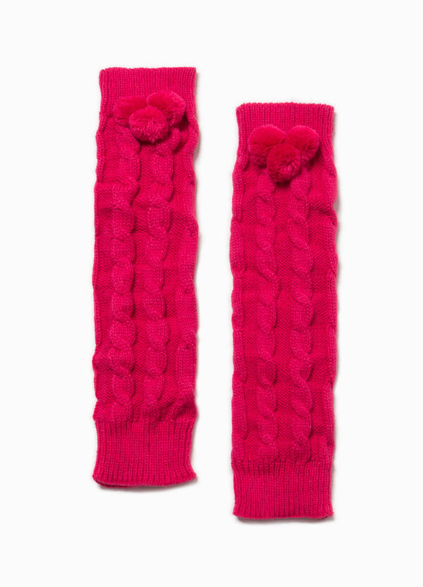 Leg warmers with pompoms