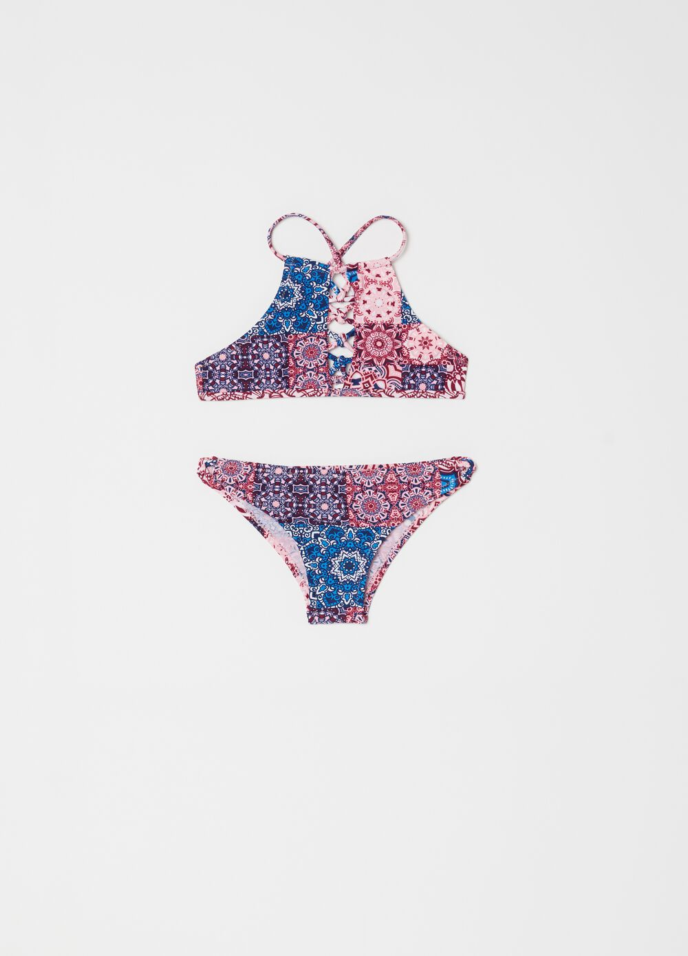 Stretch bikini top and briefs with paisley pattern