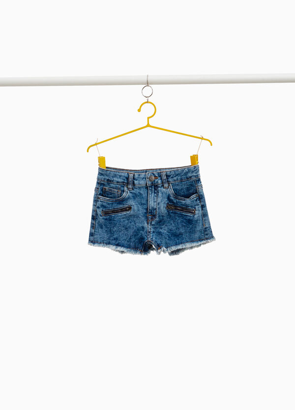 Misdyed-effect denim shorts with pockets and zip