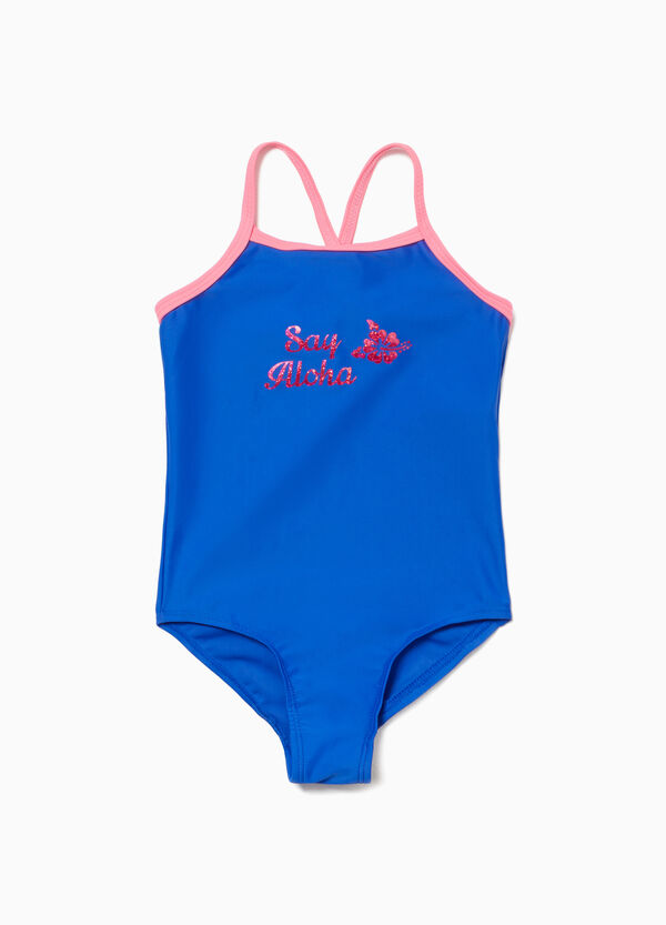 One-piece stretch swimsuit with glitter lettering