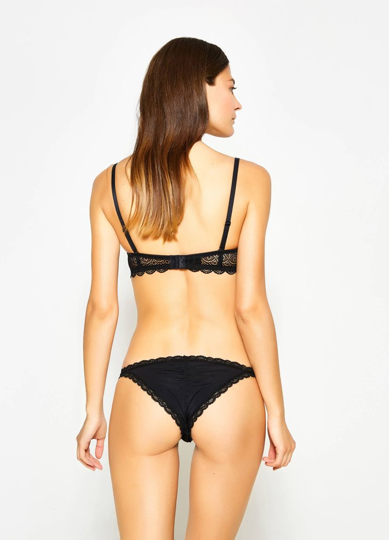 Stretch tanga with lace and bow image number null