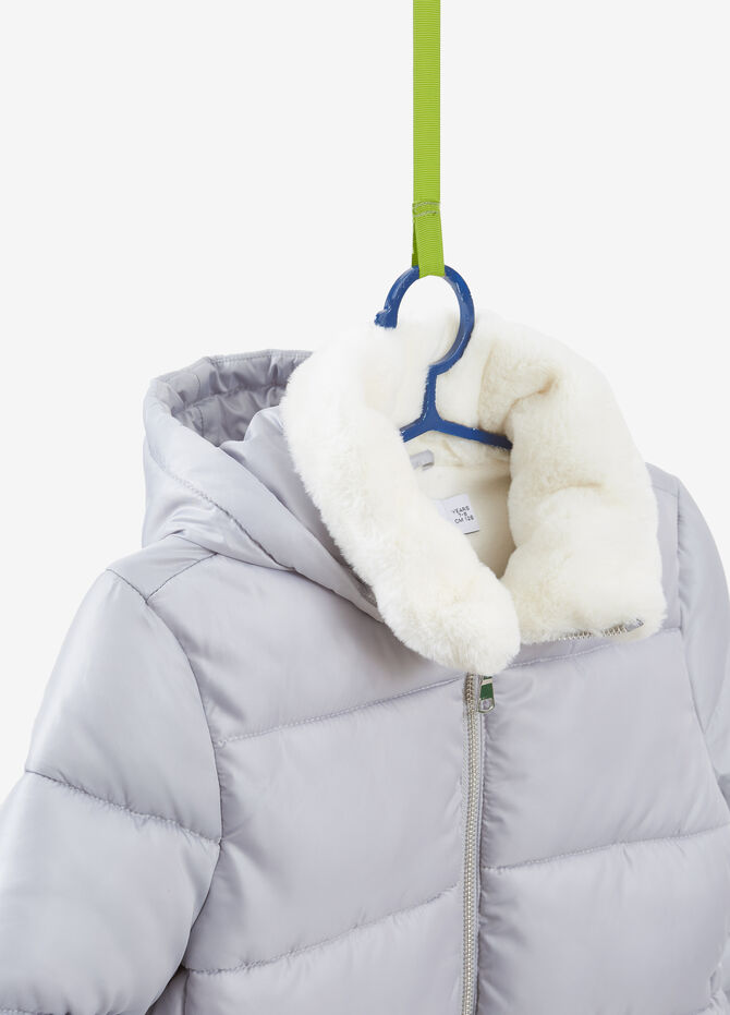 Down jacket with faux fur and hood